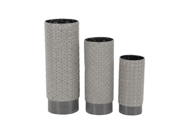3 Piece Set Grey Texture Vases - 360