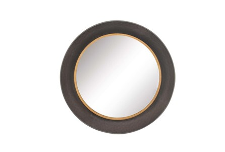 34 Inch Dark Metal Wall Mirror