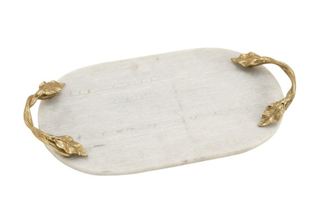 2 Inch Silver Marble & Gold Oval Tray - 360