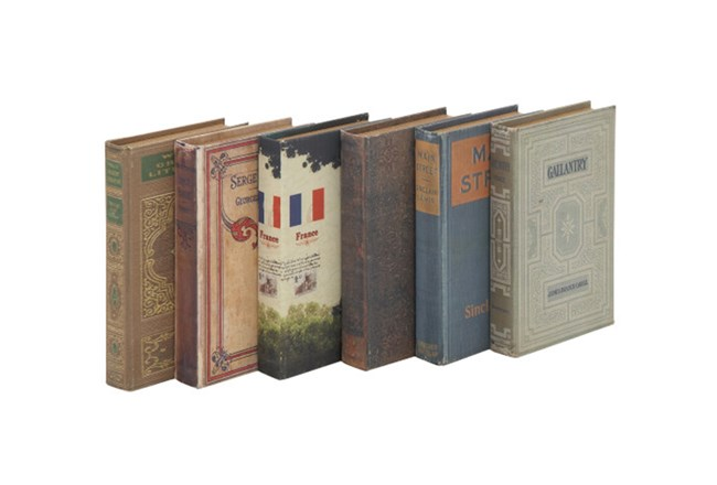 6 Piece Set Old World Book Box - 360