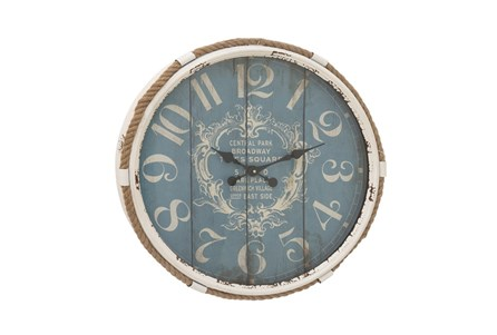 25 Inch Metal Rope Glass Wall Clock