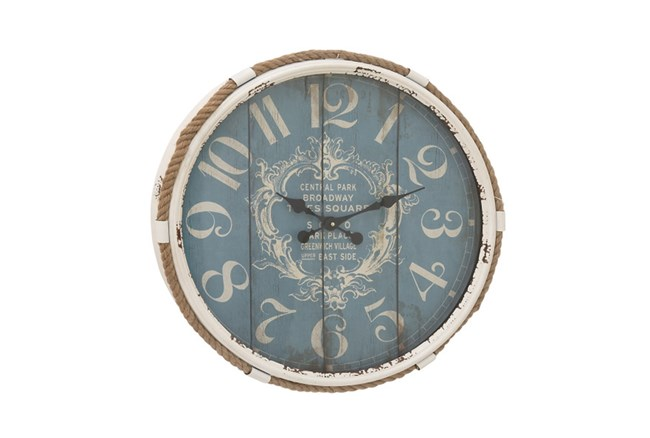 25 Inch Metal Rope Glass Wall Clock - 360