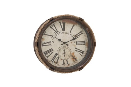 17 Inch Antique De Paris Glass Wall Clock - Main