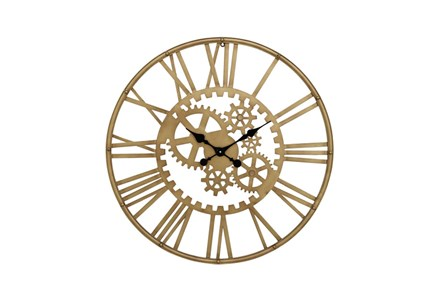 32 Inchgold Gear Wall Clock - Main