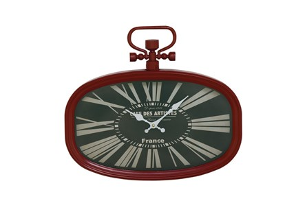 16 Inch Metal Oval Rd Wall Clock - Main