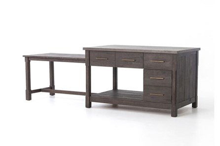 Acacia & Concrete Kitchen Island - Main