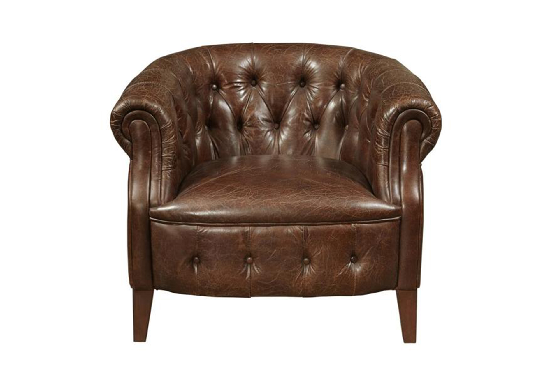 Merveilleux Coffee Leather Tufted Chair W/Nailheads   360 Elements