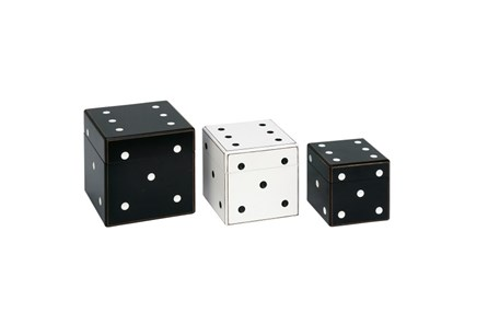 3 Piece Set Black And White Dice Box - Main
