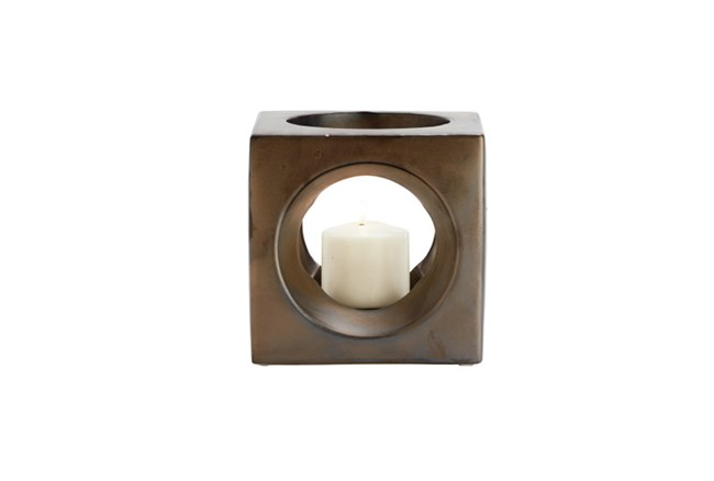 5 Inch Faux Wood Candleholder - 360