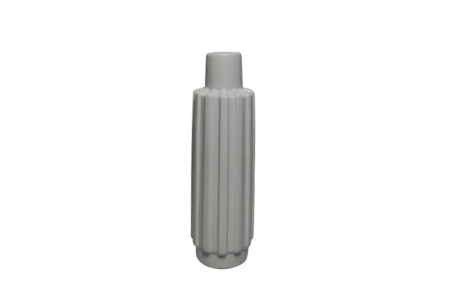 13 Inch White Ribbed Vase - 360