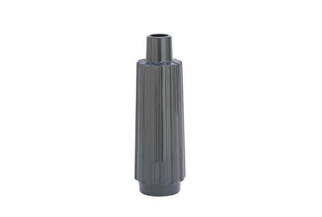 17 Inch Dark Grey Ribbed Vase - 360