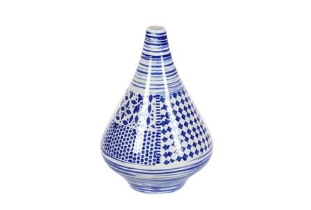 13 Inch Blue Patchwork Vase