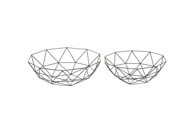 2 Piece Set Dark Metal Basket