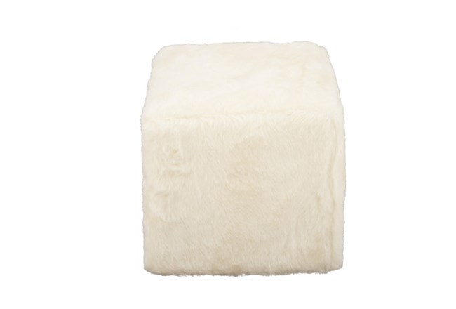 Youth-17 Inch White Faux Fur Cube Ottoman - 360