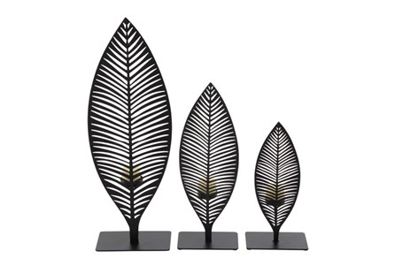 3 Piece Set Metal Leaf Holder
