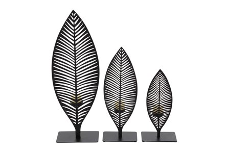 3 Piece Set Metal Leaf Holder - Main