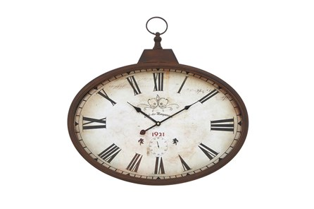 20 Inc Rustic Oval Wall Clock - Main