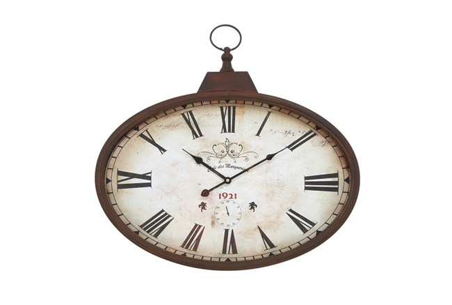 20 Inc Rustic Oval Wall Clock - 360