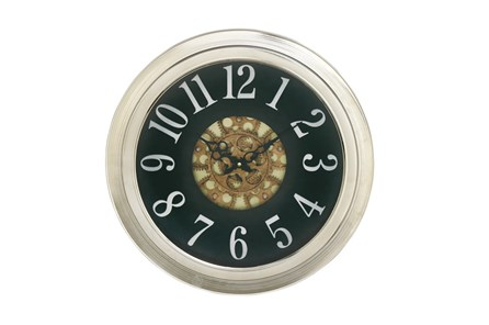 18 Inch Silver Gear Wall Clock - Main