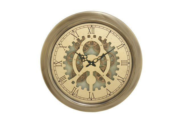 19 Inch Gold Gear Wall Clock - 360