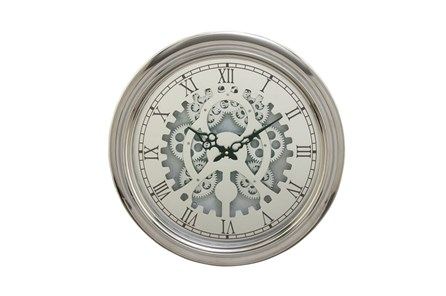19 Inch Silver Gear Wall Clock - Main