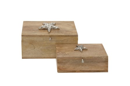 2 Piece Set Starfish Wood Box - Main