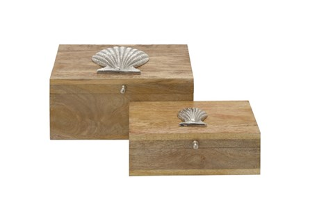 2 Piece Set Large Shell Wood Box