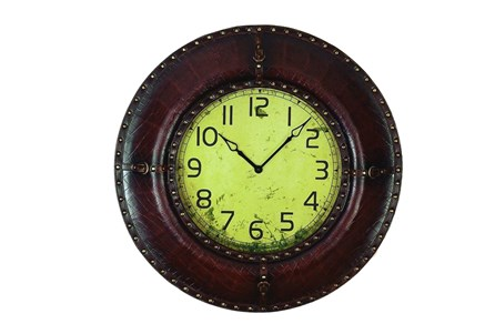 33 Inch Dark Brown Leather Wall Clock
