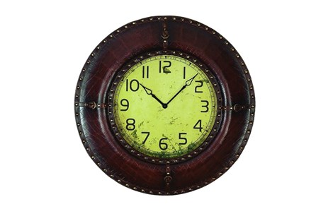 33 Inch Dark Brown Leather Wall Clock - Main
