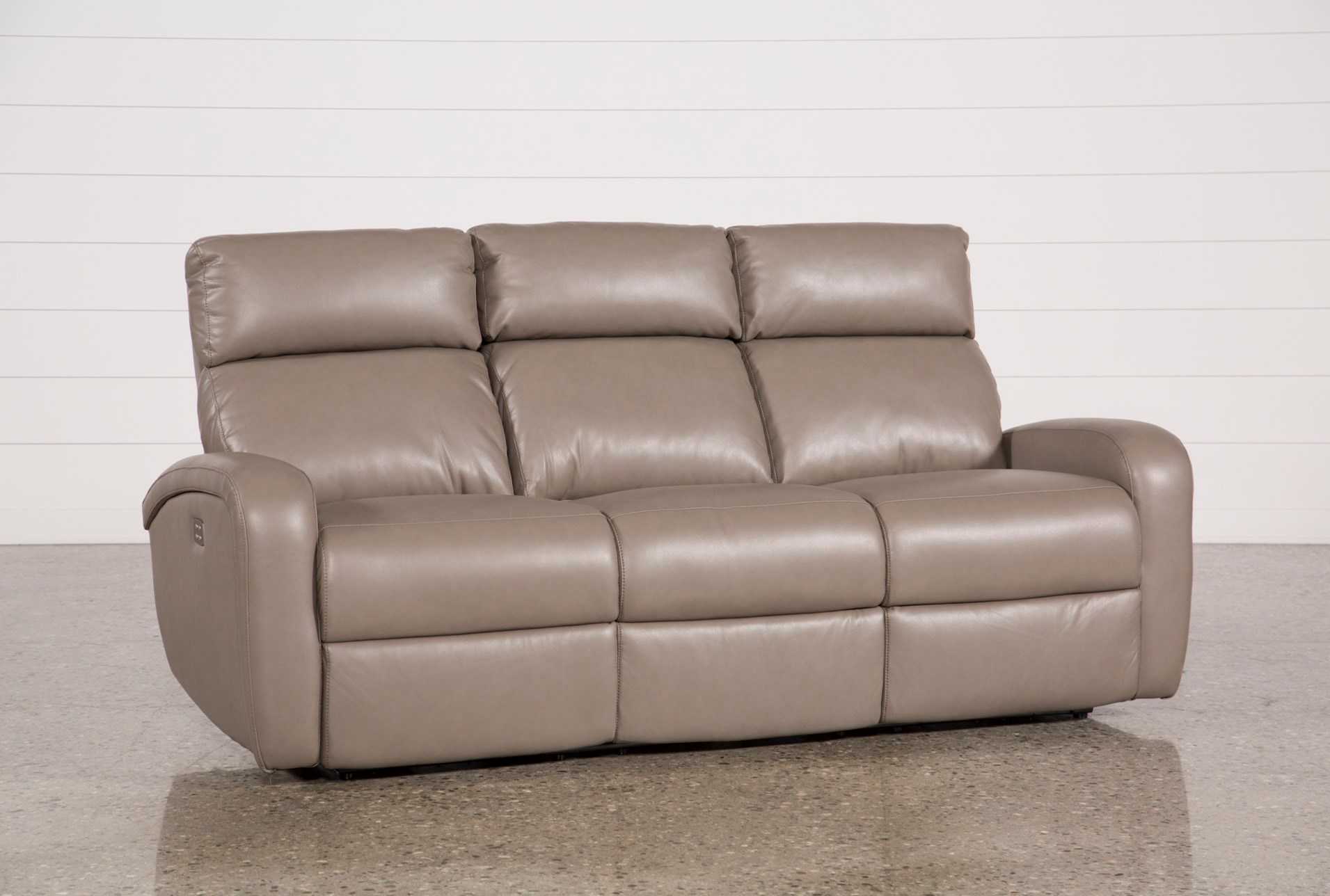 Darwin Taupe Power Reclining Sofa Living Spaces ~ Two Cushion Reclining Sofa