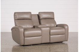 Darwin Taupe Power Reclining Loveseat W/Console