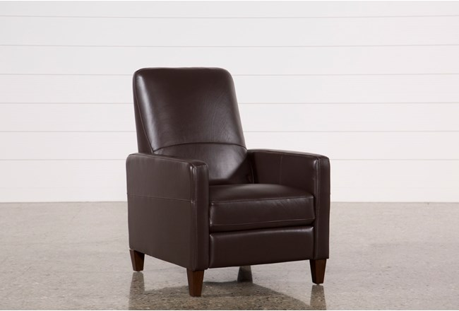 Denny Chocolate Leather Pressback Recliner - 360