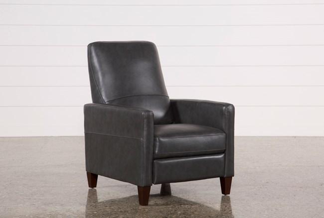 Denny Smoke Leather Pressback Recliner - 360