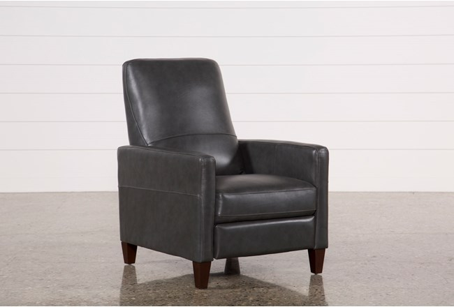 Denny Smoke Leather Push Back Recliner - 360