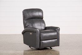 Dev Smoke Leather Power Recliner W/Pwr Headrest & Lumbar