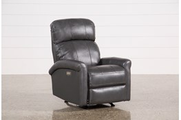 Dev Smoke Leather Power Rocker Recliner With Power Headrest & Lumbar