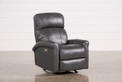 Outstanding Dev Smoke Leather Power Recliner W Pwr Headrest Lumbar Frankydiablos Diy Chair Ideas Frankydiabloscom