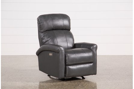Dev Smoke Leather Power Recliner W/Pwr Headrest & Lumbar