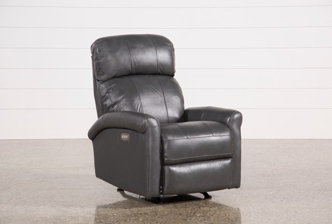 Dev Smoke Leather Power Recliner W/Pwr Headrest & Lumbar - 360