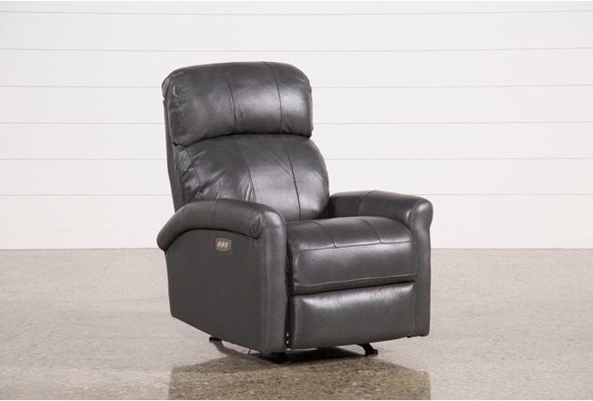 Dev Smoke Leather Power Rocker Recliner W/Pwr Headrest & Lumbar - 360