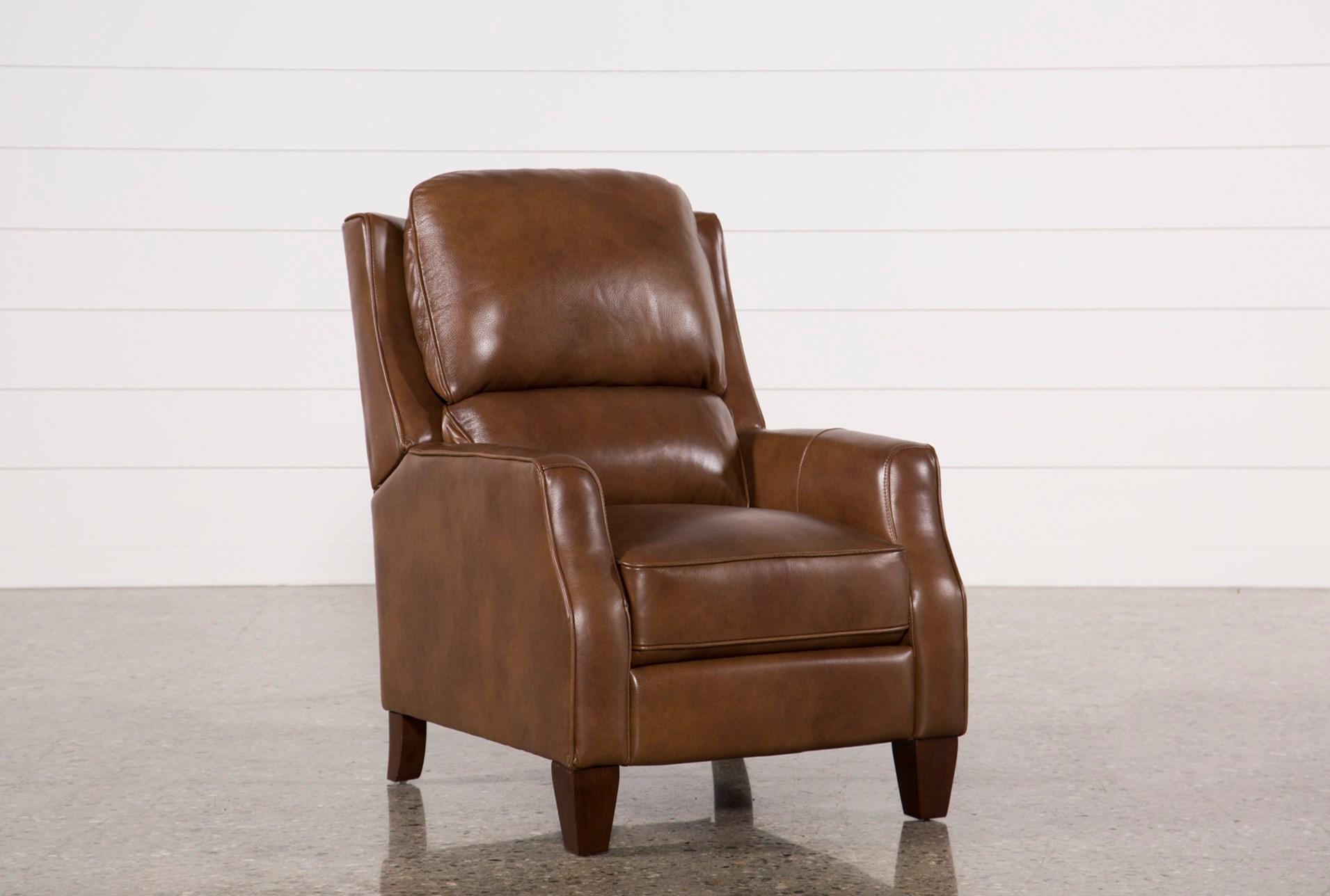 Famous Douglas Caramel Leather High Leg Recliner | Living Spaces LW12
