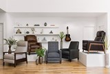 Douglas Caramel Leather High Leg Recliner - Room
