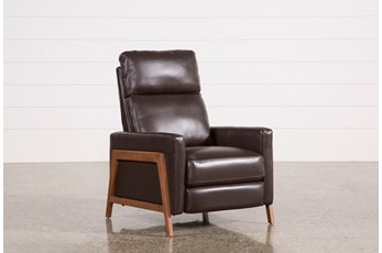 Daniel Chocolate Leather Push Back Recliner
