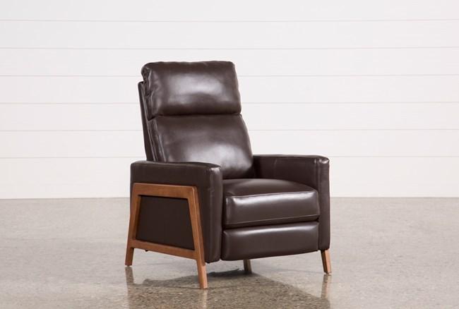 Daniel Chocolate Leather Push Back Recliner - 360