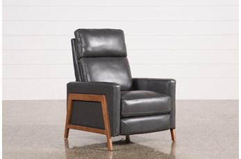Daniel Smoke Leather Push Back Recliner