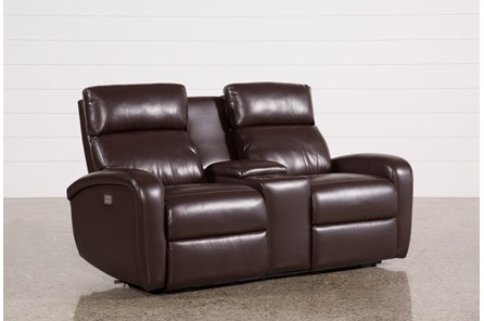 Darwin Chocolate Power Reclining Loveseat W/Console