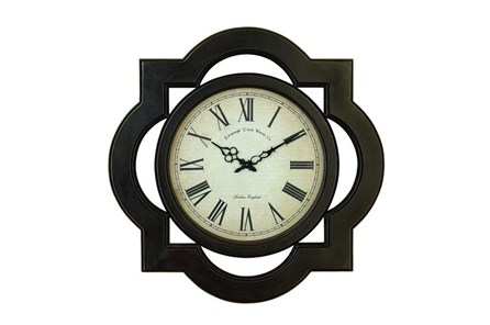 24 Inch Black Filigree Wall Clock - Main