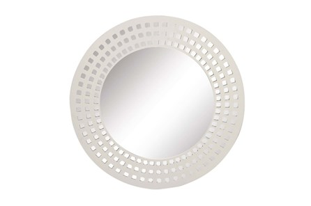 31 Inch White Lattice Round Wall Mirror - Main