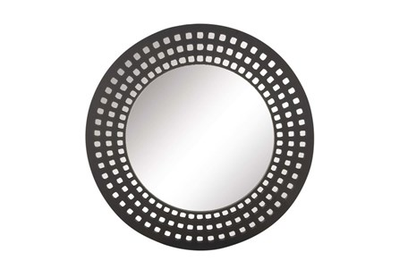 31 Inch Black Lattice Round Wall Mirror