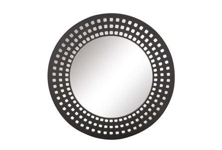 31 Inch Black Lattice Round Wall Mirror